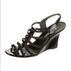MANOLO BLAHNIK black patent Iaggia wedge sandals
